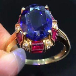 3Ct Oval Cut Simulant Ruby Blue Sapphire Halo